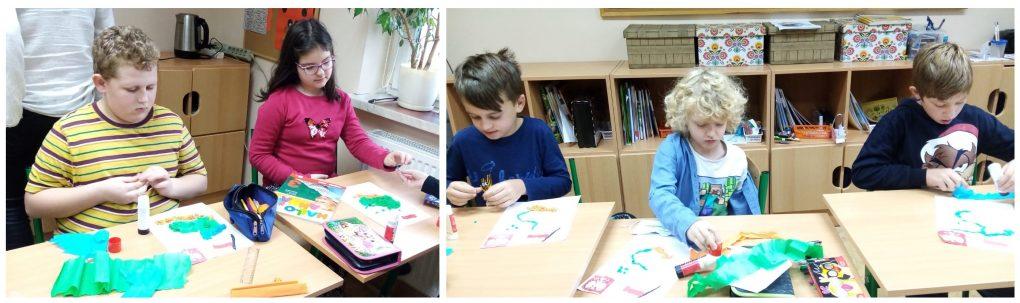 Dzieci wykonują prace plastyczne